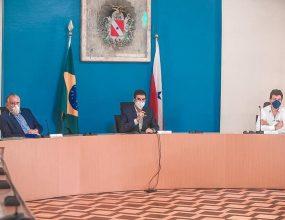 Mandetta participa de reunião com Helder para debater estratégias de combate ao Covid-19 no Pará.