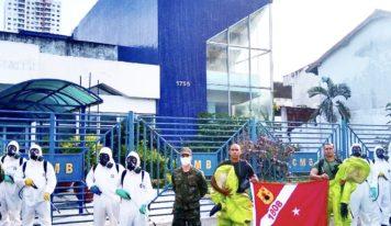 COVID-19: Fuzileiros Navais fazem descontaminação na CMB.